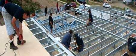 Constructing the elevated floor system