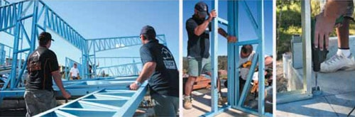 Erecting the wall frames